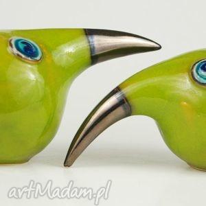 wielki ptak patrzy - złote ceramika, zwierzęta, figurki, ptaki