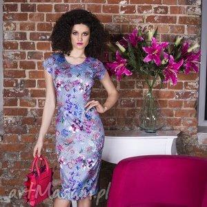 sukienka nora ii midi kalinna, dopasowana, ołówkowa, kwiaty, kwicista