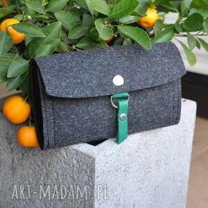 portfele portfel z filcu - grafitowy zielonym wnętrzem, portfel, filcowy