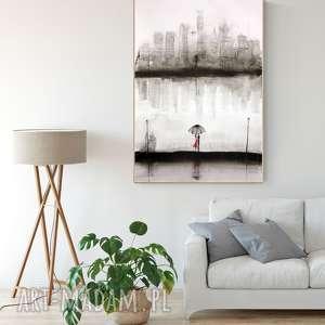hand made plakaty obraz malowany ręcznie 70 x 100 cm, deszczowa ulica, abstrakcja