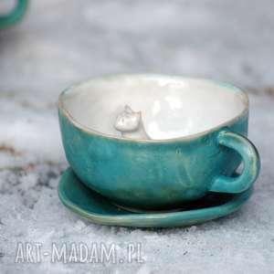 ceramiczna filiżanka kubek z figurką kota - morska, kubek, filiżanka, naprezent