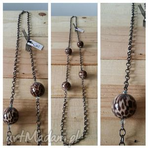 naszyjniki naszyjnik na łańcuszku z kulami , naszyjnik, łańcuch, panterka biżuteria