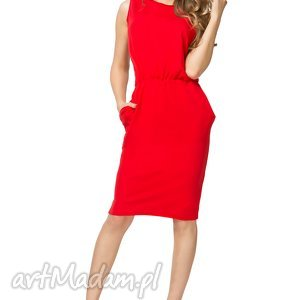 Sukienka ściągnięta w talii T132, czerwona, sukienka, bawełniana, ściągnięta,