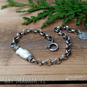 nieregularna perła i srebro 925- bransoletka, z perłą, biwa, łańcuszkowa