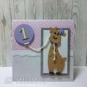 Kartka/zaproszenie żyrafkowo, żyrafa, urodziny, zaproszenie, chrzest, narodziny