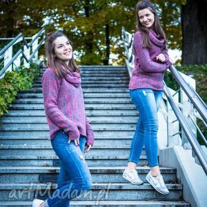 Różowo-szary melanżowy sweter z kominem - ArtHermina, sweter, melanż, komin, wełna