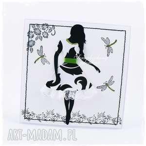 Kobieta w sukience - kartka, kobieta, sukienka, koronka, motyle, zielony, brokat