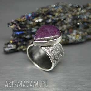 branickaart rubin z zoizytem pierścionek edennil, srebrny pierścionek