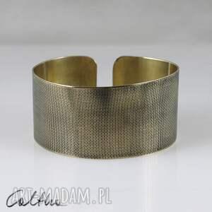 bransoletki płótno - mosiężna bransoletka, bransoleta, szeroka, metalowa