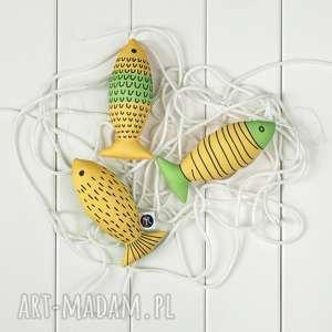 dekoracje ryba zielono-żółta, zestaw 3 ryb, ryba, egzotyczna