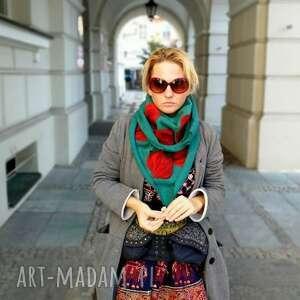 turkusowa/zielona chusta handmade wełniana, elementy filcowane to wełna