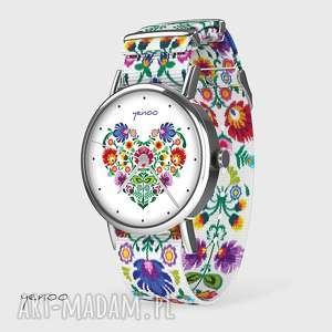 zegarek - serce folkowe folk biały, nato, zegarek, bransoletka, folkowy