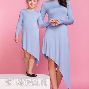 sukienka asymetryczna z długim rękawem mama tm3, kolor niebieski