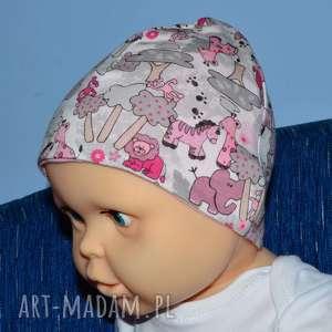 safari zwierzątka, biała czapka dla dziewczynki, polska bawełna, rozmiary