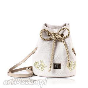 na ramię torebka lniana taszka mini 417, folk, len, rękodzieło, haft, torebka