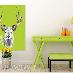 obraz na płótnie - 70x100cm jeleń w zieleni 02213 wysyłka 24h, jeleń, zielony