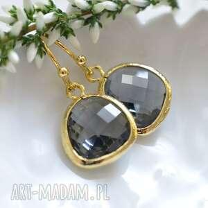 grey drops in gold, wiszące, delikatne, subtelne, złote, kryształ