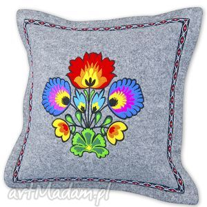 poduszka filcowa - bukiet po002, poduszka, filc, haft, folk, łowicki, kwiaty dom