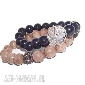 komplet elegancki z rozetą, srebro, talizman, kamienie, rozetka, modna, bransoletka