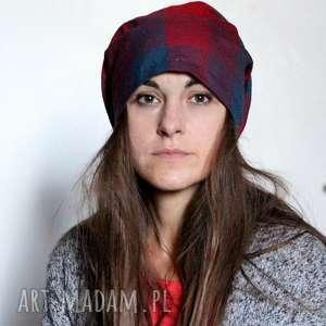 hand-made czapki czapka damska materiałowa w kratkę