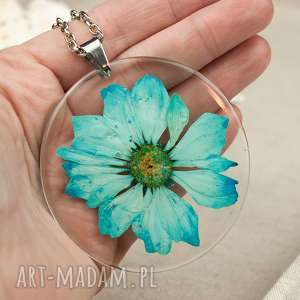 z178 duży wisior z suszonym kwiatem - naszyjnik z kwiatem, biżuteria z żywicy
