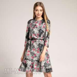 Sukienka Francesca Black Fern, trapezowa-sukienka, sukienka-z-falbaną