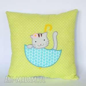 poduszka - kotek w parasolce - poduszka, dziecko, dziewczynka, kotek, wygodna, kolorowa