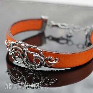 Mandarynki i pomarańcze, rzemień, bransoletka, wire, wrapping, srebro, naturalny