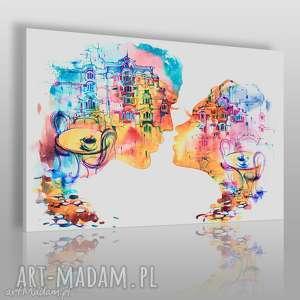 Obraz na płótnie - POCAŁUNEK RESTAURACJA KOLOROWY 120x80 cm (56101), pocałunek