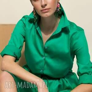 zielona szmizjerka solar, midi, bawełna, uniwersalna, rozkloszowana, kobieta