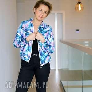 bluza bomberka damska w pastelowe liście, na suwak, dzianinowa
