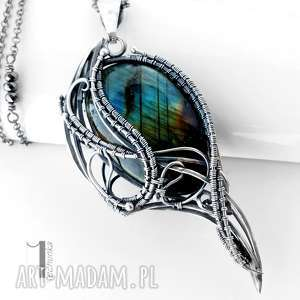 Prezent Ptasie trele srebrny naszyjnik z labradorytem, wirewrapping, srebro, 925