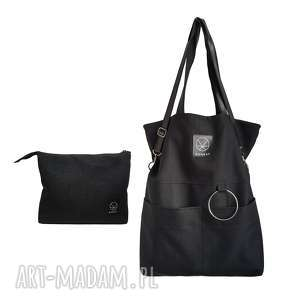 zestaw duża torba kosmetyczka czarna, duża-torba, torba-na-zamek, zestaw, unisex