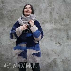 swetry sweter granatowy, wełna, unikat, rękodzieło, sweter, dla niej, prezent