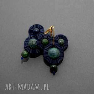 kolczyki sutasz z chryzokolą, sznurek, eleganckie, wiszące, granatowe, ciemnozielone