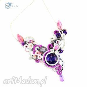 Srebrno-fioletowy naszyjnik - sutasz - ,sutasz,glamour,bal,soutache,