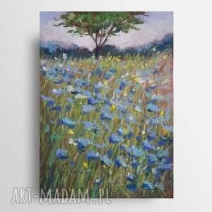 niebieska łąka-praca wykonana pastelami suchymi