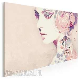 obraz na płótnie - kobieta portret kwiaty 120x80 cm 96901, kobieta