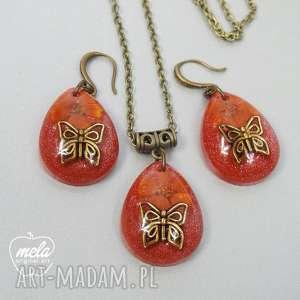 0255 mela komplet z żywicy kolczyki wisiorek motyl art komplet