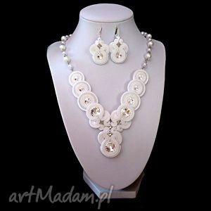 biżuteria ślubna sutasz z kryształkami swarovski w bieli kolczyki i naszyjnik