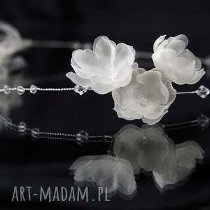 Kryształowa opaska, swarovski, jedwab, kwiaty, kryształ, ślub, ozdoba