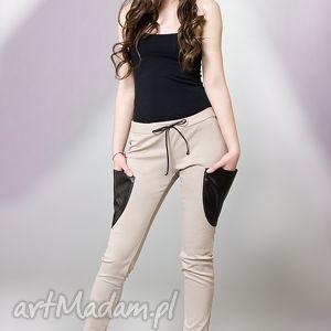 spodnie rurki z kieszeniami ekoskóry, spodnie, kieszenie, ekoskóra, sweet