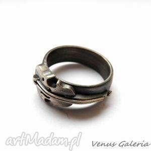 obrączka srebrna - skrzypce, biżuteria, srebro, obrączki
