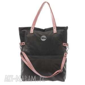 hand-made na ramię torba damska zamsz mana cube grafit pudrowy róż powder pink