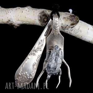 kwarc tytanowy wisior widelec zawieszka, widelec, antyk, biżuteria