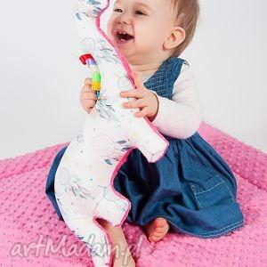 hand made zabawki mięciutki dinozaur - minky bawełna - fuksjowe łapacze snów