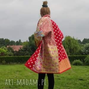 płaszcze płaszcz patchworkowy w stylu boho, długi, kimonowy - waciak, boho