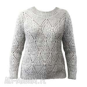 ręcznie zrobione swetry ażurowy sweter, swe123 szary