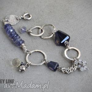 bransoletka z iolitami ii, srebro, minerały, iolit, ametyst