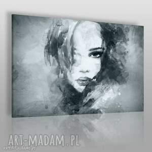 obraz na płótnie - kobieta portret szary 120x80 cm 14903 , kobieta, portret, twarz